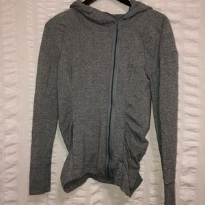 Zella Gray Ruched Hooded Jacket